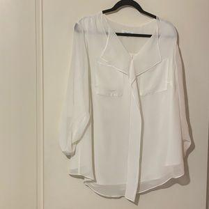 Calvin Klein sheer white blouse
